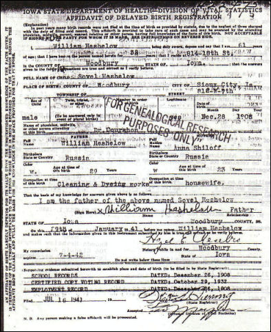 Anna shiloff and heshelow descendants genealogy history and sovel birth certificate yadclub Gallery