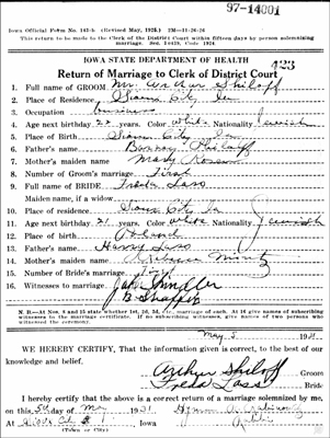 Archie and Freda Lass Shiloff marriage document