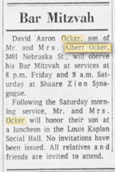 David Ocker Bar Mitzvah notice