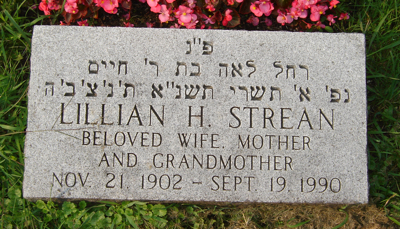 Lillian Strean headstone