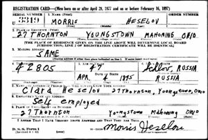 Morris Heselov draft card 1942