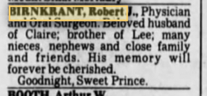 Robert Birnkrant Obituary