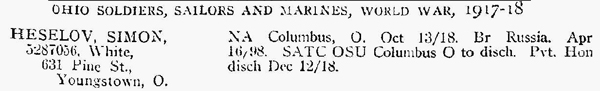 Listing from Ohio Soldier WW1 1918