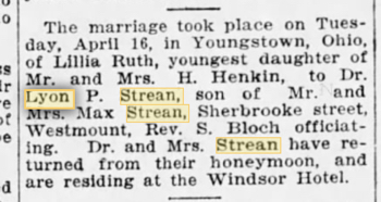 Lillian Henkin and Lyon Peter Strean marriage